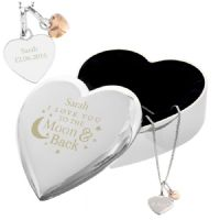 Personalised Engraved Moon and Back Heart Trinket Box & Silver Heart Pendant Gift Set - ideal gift for her for Valentine's, Wedding, Engagement or Birthday